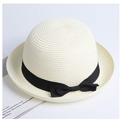 Ribbon Round Flat Top Straw Fedora Panama Hat Summer Hats for Women Straw hat Snapback Gorras Sun Hats,Dome Milk White,Child Size 52-54cm]()