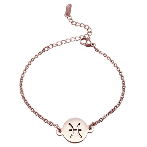 JJTZX Zodiac Signs Rose Gold Necklace&Bracelet Stainless Steel Cut Out Charm Bracelet&Necklace Simple Birthday Gift (Pisces B RG) (Sign Zodiac Bracelet)