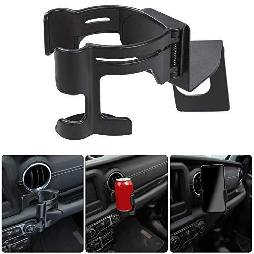 Savadicar Multi-Function Drink Cup Phone Holder, 2 in 1 Bolt-on Stand Bracket Organizer for 2018-2019 Jeep Wrangler JL Sport Sports Sahara Unlimited & JL Rubicon Moab