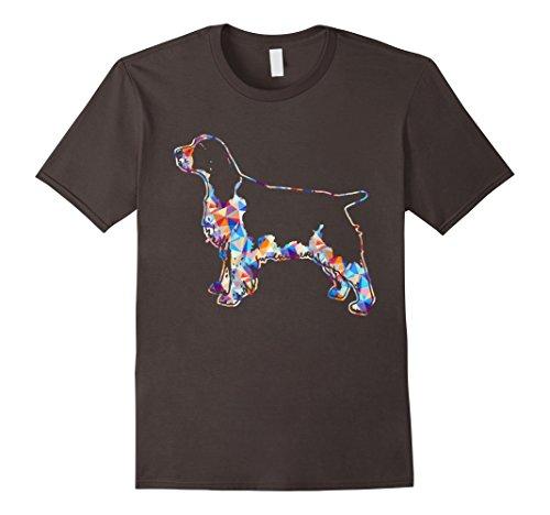 Mens English Springer Spaniel Geometric T shirt Medium Asphalt