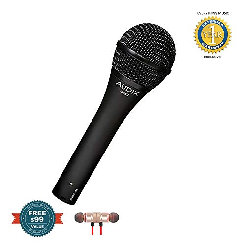Audix OM7 Handheld Hypercardioid Dynamic Microphone includes Free Wireless Earbuds - Stereo Bluetooth In-ear and 1 Year Everything Music Extended Warranty
