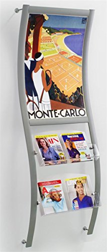 "Magazine Rack 27-1/2""w x 81""h x 10""d Silver Polished Aluminum Wave Rail with Clear Acrylic Pockets Literature Display – Advertising Frame Features 24""w x 36""h Poster (Shaped Wall Pocket)"