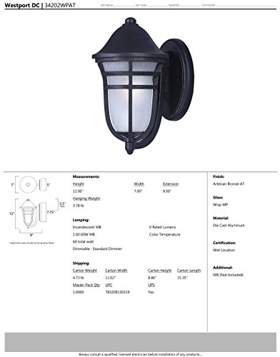 Maxim 34202WPAT Westport DC 1-Light Outdoor Wall, Artesian Bronze Finish, Wisp Glass, MB Incandescent Incandescent Bulb , 9W Max., Wet Safety Rating, 3000K Color Temp, Shade Material, 800 Rated Lumens by Maxim Lighting (Image #1)