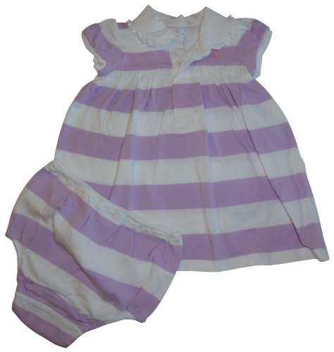 Ralph Lauren Polo Infant Girl's Short Sleeve 2 Piece Dress Lilac and White Stripes (6 Months)