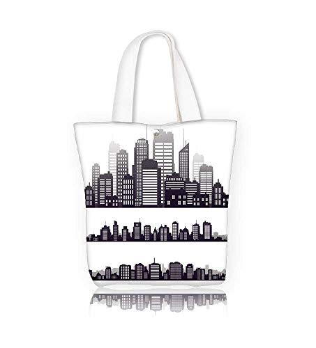 Ladies canvas tote bag city skyline icons on white reusable shopping bag zipper handbag Print Design W12xH7.8xD3 INCH