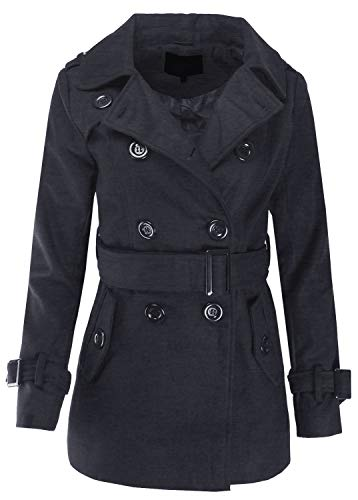 (Classic Double Breasted Trench Coat Pea Coat with Belt Charcoal S Size)