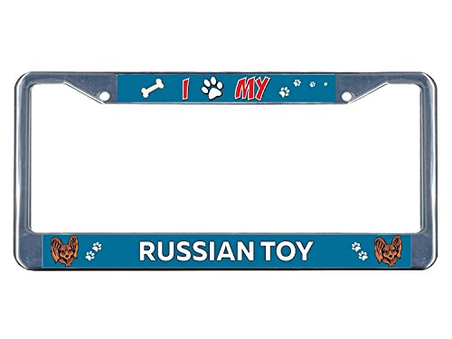 (YEX Russian Toy Dog I Paw License Plate Frame Car Tag Frame Auto License Plate Holder 12