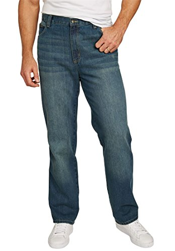 Big & Tall Loose Fit Side Elastic 5-Pocket Jeans, Blue (5 Pocket Denim Blue Jeans)