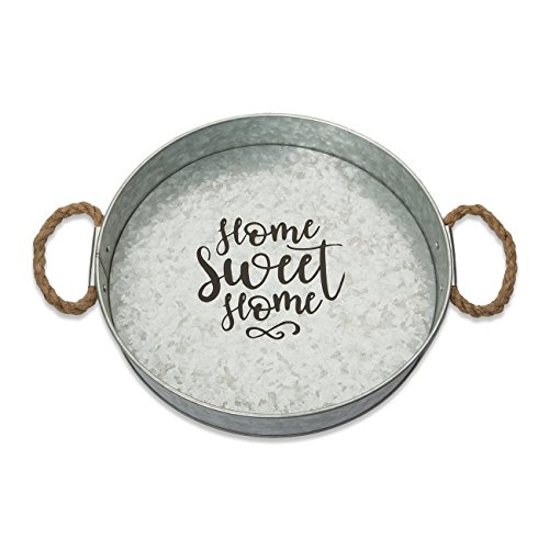 (Brownlow Gifts Galvanized Metal Round Serving Tray, Home Sweet Home)