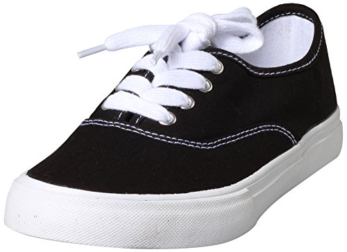 Soda Women's Ribbon Lace Up Canvas Fashion Sneaker (5.5 B(M) US, Black/White)