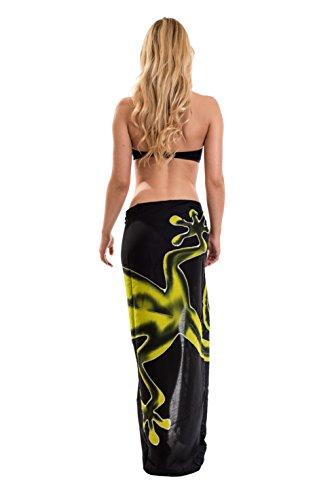 Sarong Pareo Wickelrock Strandtuch Handtuch Wickelkleid Strandkleid Schal ca. 170cm x 110cm Gecko Design Grün Schwarz