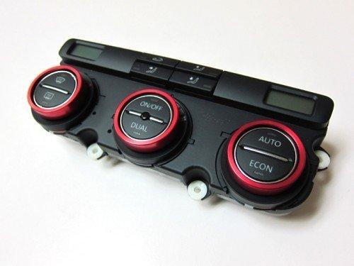 (Aluminium Bezel Set For HVAC Climatronic Dial Button Gloss Red Color For Volkswagen VW Golf Jetta MK5)