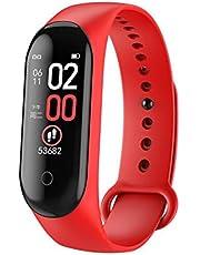 سوار ساعة سمارت M4 للمعصم مع خاصية قياس ضغط الدعم ومراقبة معدل نبضات القلب وعداد الخطوات، سوار رياضي لمراقبة مستويات اللياقة والصحة (احمر)