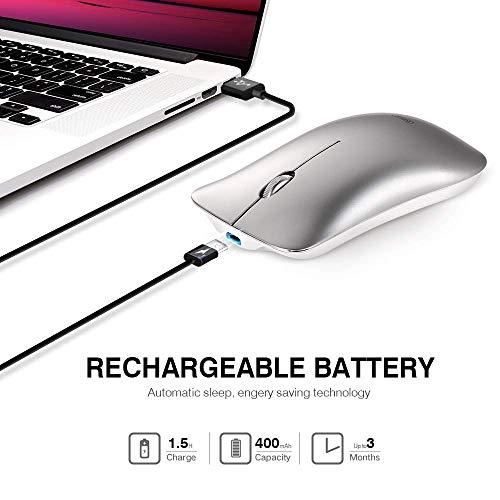 INPHIC Mouse Wireless Ricaricabile, Mouse Senza Fili Silenzioso 2,4G 1600DPI Mouse USB Portatile da Viaggio Ottico con Ricevitore USB per PC Computer Mac MacBook, Spazio Argento