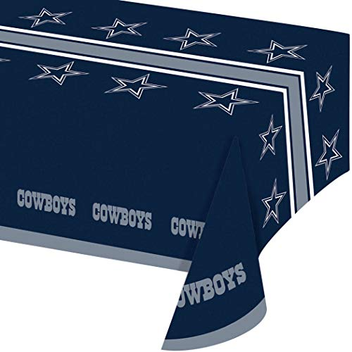 54 X 102 Inch NFL Cowboys Tablecloth, Football Themed Rectangle Table Cover Sports Patterned, Team Color Logo Fan Merchandise Athletic Spirit Blue Gray, Plastic ()