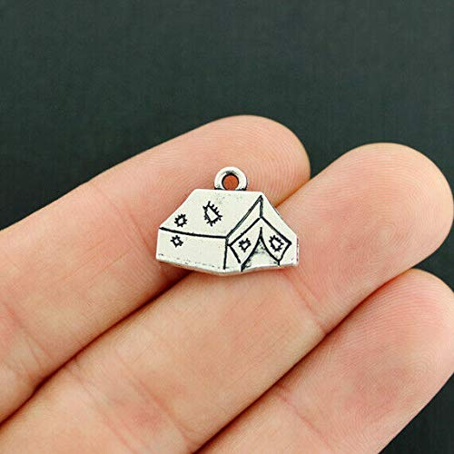 (Pendant Jewelry Making for Bracelets and Chains 2 Camping Charms Antique Silver Tone Tent Fantastic 2 Sided Detail - SC7925)