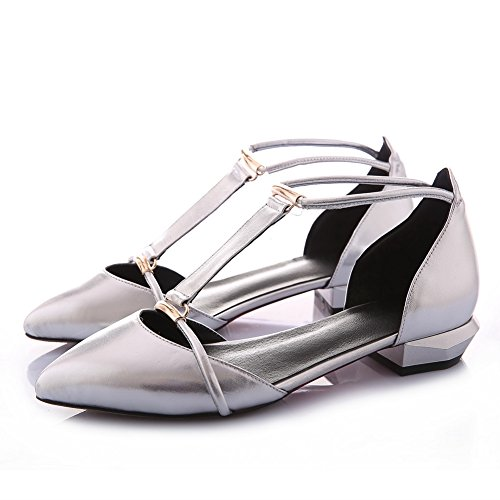 BalaMasa Womens Empty Elastic Band Buckle Cow Leather Pumps-Shoes Silver nl9zbBRbbe