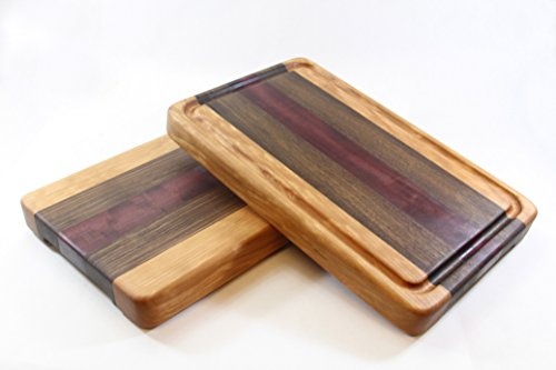 Handcrafted Wood Cutting Board - Edge Grain - Cherry, Walnut & Purpleheart. No slip and easy grip. Optional juice groove. Chef/cook!