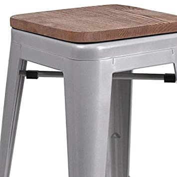 Taylor Logan 4 Pk. 24 High Backless Silver Metal Counter Height Stool with Square Wood Seat
