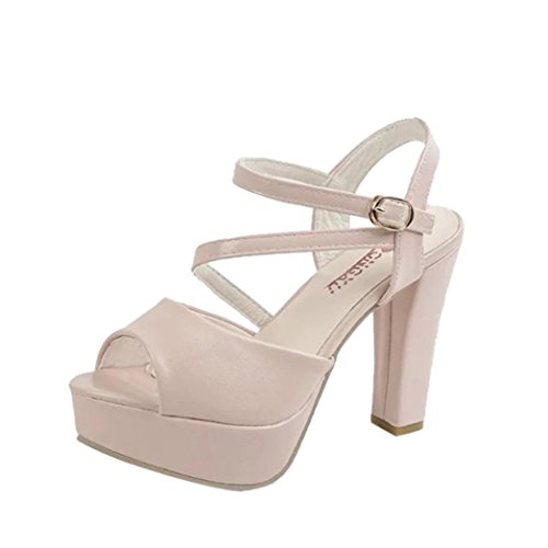 Lolittas Ladies Women High Block Heel White Sandals, Glitter Platform Ankle Strappy Slingback Lace up Wide Fit Cushioned Outdoor Shoes Size 2-7 Pink