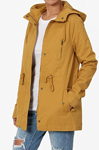 TheMogan Junior's Washed Twill Hooded Utility Anorak Jacket Mustard M by TheMogan (Image #3)