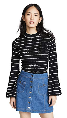 (Keepsake Women's Foundations Sweater, Black with Ivory, Medium)