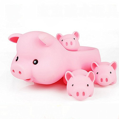 Cute Baby Girl Boy Bath Classic Water Toys Rubber Race Squeaky Pink Pig Family Set Hot Sale