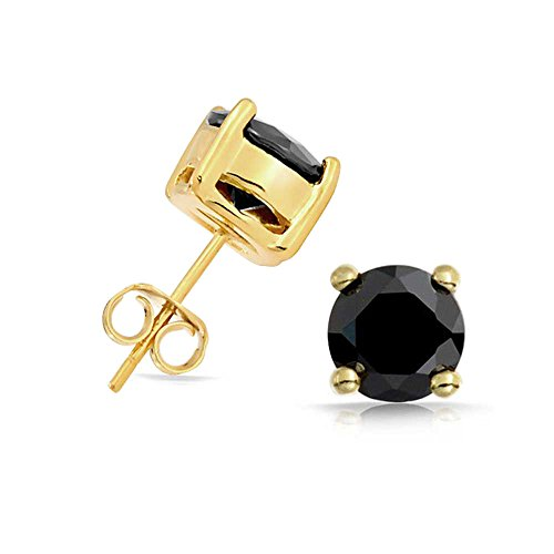 Bling Jewelry Black CZ Round Stud Earrings 925 Sterling Silver Photo #4