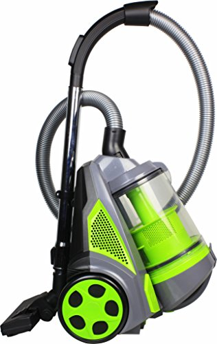 Ovente Bagless Canister Cyclonic Vacuum – HEPA Filter – Includes Pet/Sofa Brush, Bendable Multi-Angle Brush, Crevice Nozzle/Bristle Brush, Retractable Cord – Featherlite – ST2620 Series (Green)