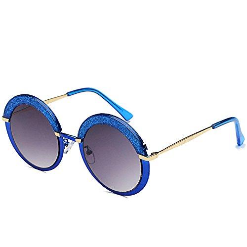 Redondo DESESHENME Gafas Clásico Lente Azul Espejo Borde de Flash Lentes de Plata Estilo Retro Metal Frame Sol Azul Mujeres Mate Oro r4xt0xq