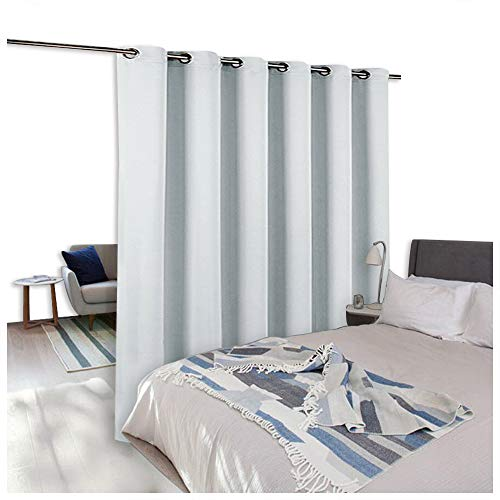 NICETOWN Room Dividers Curtains Screens Partitions, Full-Length Metal Grommet Top Panel Room Divider Curtain for Office, Sliding Glass Door Curtain (1 Piece, 9ft Tall x 10ft Wide, Greyish White)
