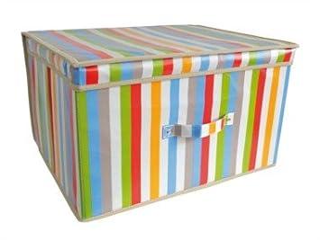 Ordentlich Aufbewahrungsbox, mit Deckel, rechteckig, gestreift, 50 x 30 x 40  GB95
