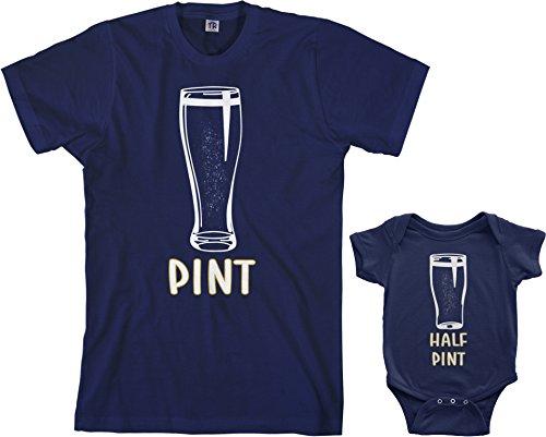 Threadrock Pint & Half Pint Infant Bodysuit & Men's T-Shirt Matching Set (Baby: 6M, Navy|Men's: XL, (Irish Navy)