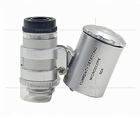 Topker 60X Handheld Lupe Mini Pocket Mikroskop Lupe UV W/ährung Detektor Juwelier Lupe mit LED-Licht