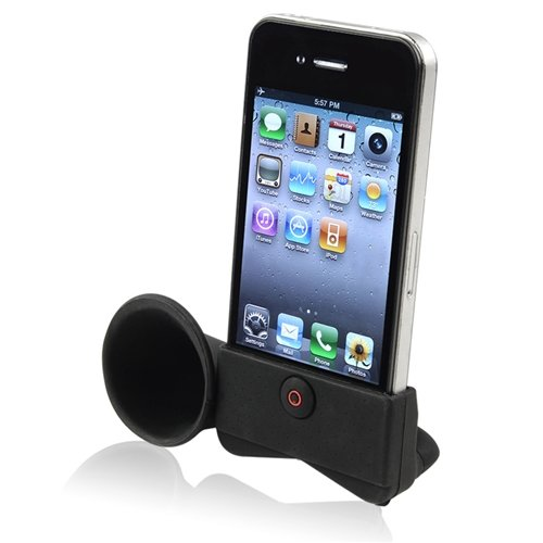 Silicone Horn Stand Speaker compatible with Apple iPhone 4 / 4S, Black