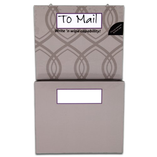 Mead Organizher Hanging Magnetic Storage Pockets, Small, 6 x 10 Inches, Gray with Geometric Accents (98133)
