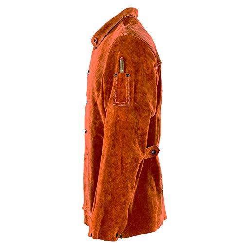 QeeLink Leather Welding Work Jacket Flame-Resistant Heavy Duty Split Cowhide Leather (Large) Brown by QeeLink (Image #3)