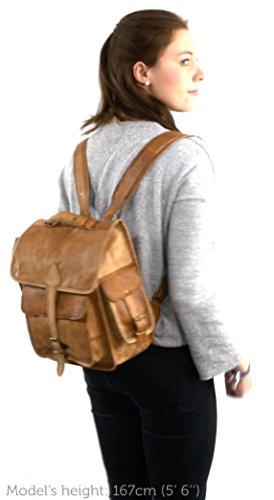 Gusti Leder nature ''Eleanor'' zaino di pelle tempo libero città passeggio università lavoro classico vera pelle vintage marrone K58b