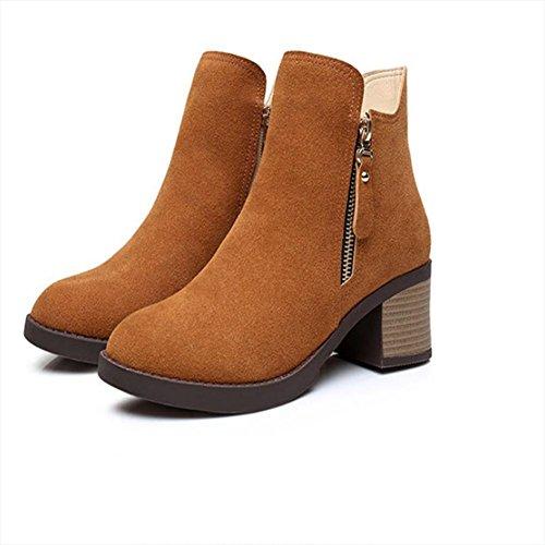 f62748568f8b best Femme Mode Suede Antidérapant Au talon Zipper Bottes   Mesdames  Bottines   Chaussures