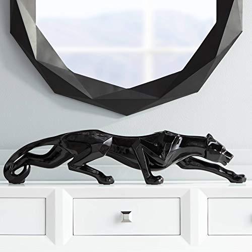 Studio 55D Black Lacquer 30 1 2 Wide Leopard Sculpture