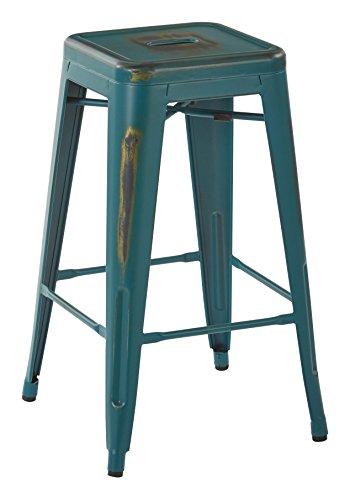 OSP Designs Bristow 26 Antique Metal Barstool, Antique Tourquoise, 4 Pack