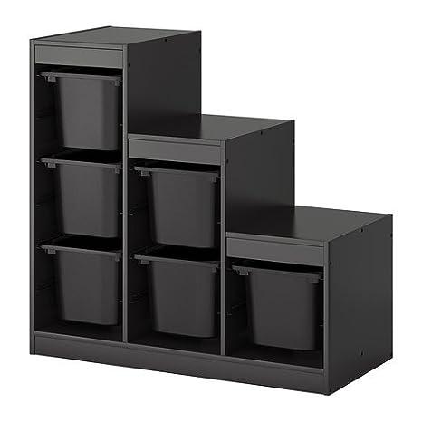 Ikea TROFAST - combinación de almacenaje con Cajas, Negro: Amazon.es: Hogar