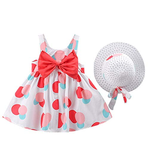 FEITONG Toddler Girls Sleeveless Strap Dress Dot Print Bow Princess Dresses with Hat Outfits Clothes Set(Red,2-3Y)]()