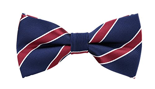 SUKRAGRAHA Adjustable Length Pre-Tied Navy Blue Red Ribbon Pattern Bowtie