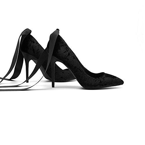 8cm, 10cm Schwarz Spitze Stiletto High Heels, Flacher Mund Wort Banded Damen Schuhe ( Farbe : Black10cm , größe : 38 ) Black10cm