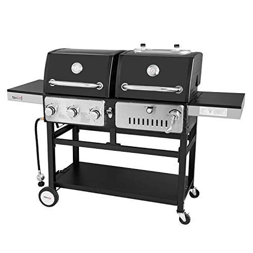 Royal Gourmet ZH3003 Dual 3-Burner Gas and Charcoal Grill Combo, for Outdoor Cooking, Black (Smoke Hollow Charcoal Grill)