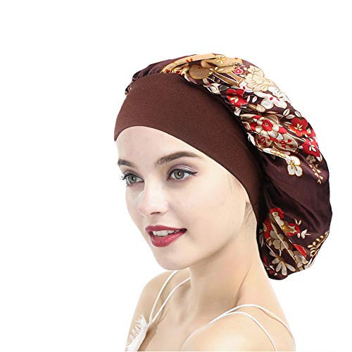 Funcl Womens Sleep Night Cap Wide Band Satin Bonnet for Hair Beauty,Hair Care Cap,Chemo Beanie,Curly Springy Hair ()