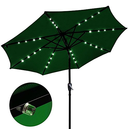 9ft Patio Solar Umbrella Patio UV Blocking Canopy Anti-Fade Party Green