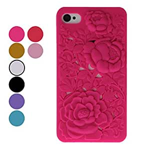 Rose Pattern Hard Case for iPhone 4 (Assorted Colors) --- COLOR:Black
