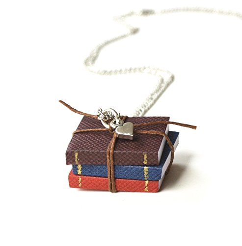 Miniature Book Necklace, Stack of 3 Mini Books with Mini Heart Charm